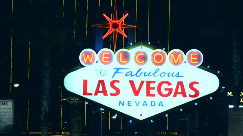 Las Vegas Strip Entrance Sign at Night. March 5, 2015. Las Vegas, Nevada, United States.   | Shutterstock HD Video #9260348