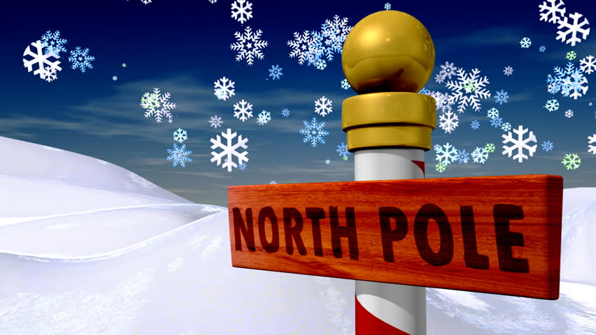 Christmas north pole sign, HD version.