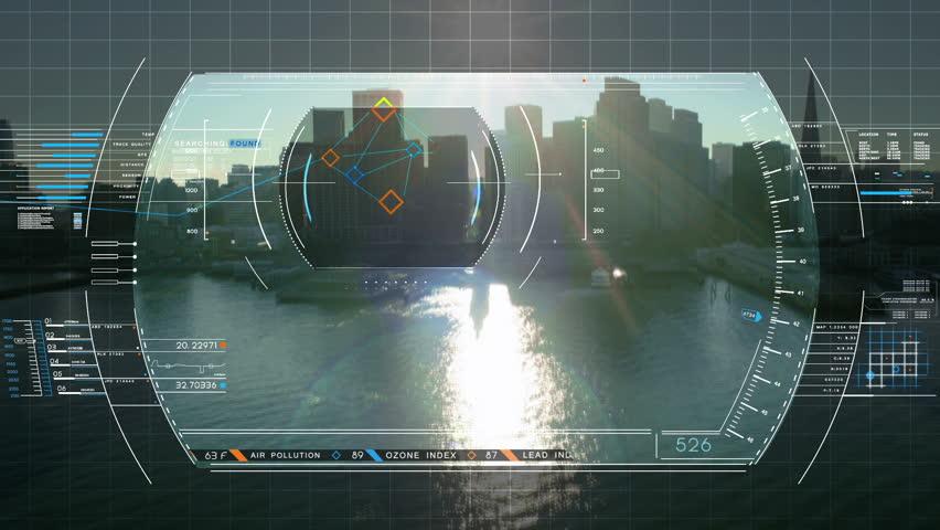 Drone Technology USA Spy Satellite GPS Motion Graphics Aerial HUD Flight City Stock Footage