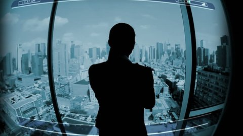 Businesswoman Touchscreen motion graphics rate exchange Technology global Trade