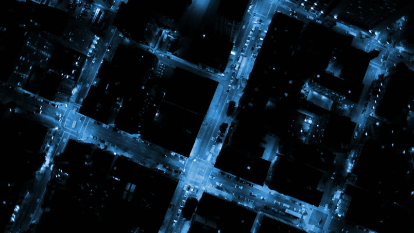 aerial building electricity light night motion graphics connectivity fibre optic