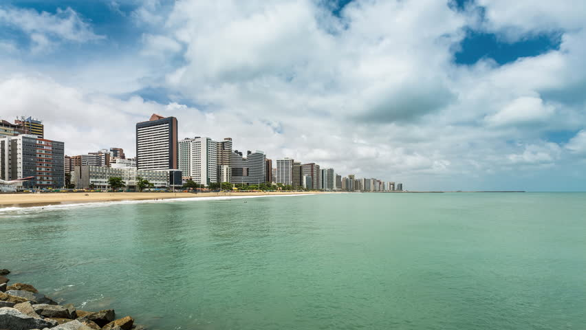 Downtown of Fortaleza city with sky moving Time Lapse, Brazil