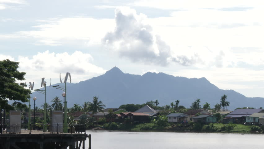 A solar powered mill in front of Sarawak river, in Kuching, Malaysia