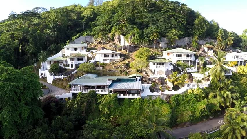 The aerial view of Lazare Picault hotel, Baie Lazare, Mahe island, Seychelles