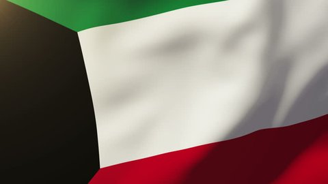 Kuwait flag waving in the wind. Looping sun rises style.  Animation loop