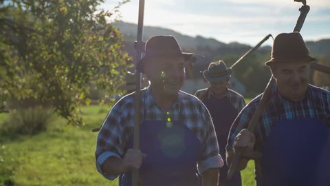 Smiling farmers going to work with scythe on there shoulders. Slow motion close up footage of a smiling farmers walking on filed with scythe on there shoulders to go mowing the grass on sunny day.
