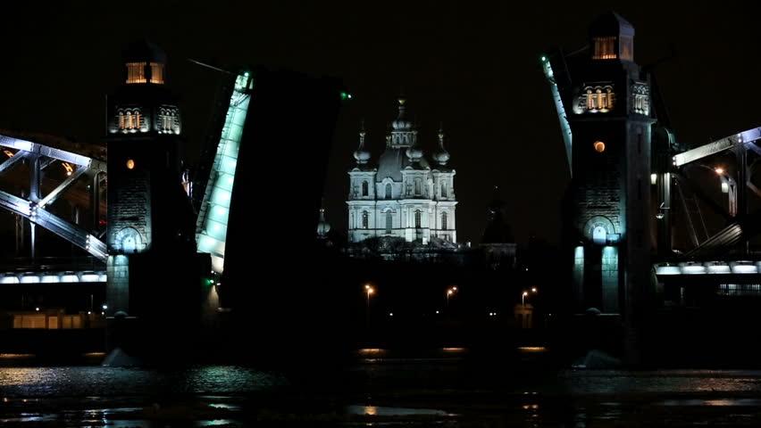 Night view of the Bolsheokhtinsky bridge in St. Petersburg, Russia. Full HD | Shutterstock HD Video #9427757