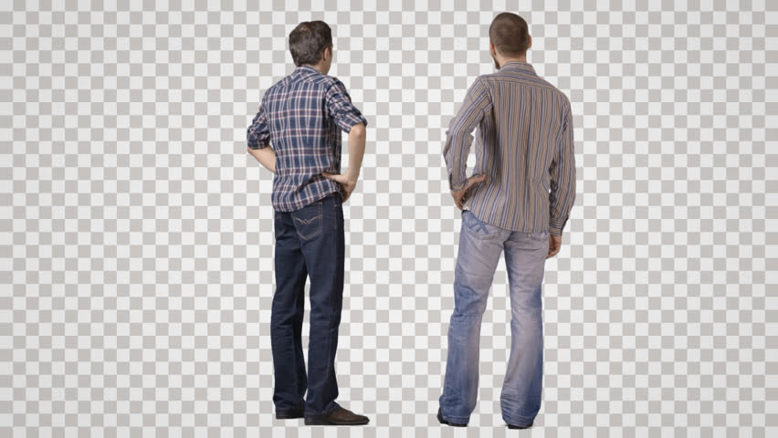 Two young men in casual standing and talking. Back view. Footage with alpha channel. File format - mov. Codeck - PNG+Alpha Combine these footage with other people to make crowd effect | Shutterstock HD Video #9449867