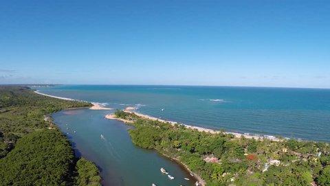 Flying over Caraivas beach, a paradise in Bahia, Brazil