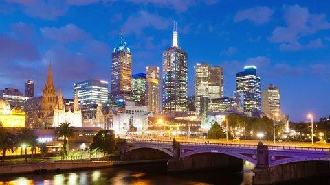 Melbourne, Australia - April 2, 2015: 4k hyperlapse, motion timelapse, video of downtown Melbourne, Australia from sunset to night