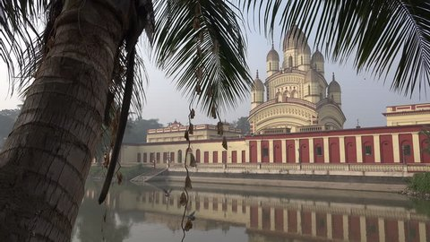 Facade of the Dakshineswar Kali temple complex, an important place for Hindu worshippers, in Kolkata, India.