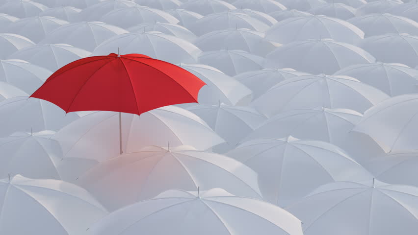 Red umbrella open and standing out from crowd mass white umbrellas, design background text concept, high point, with color mask