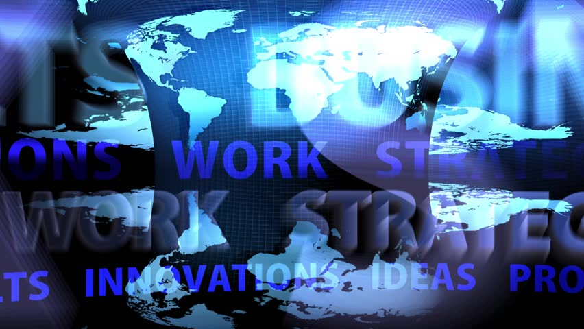 Scrolling Business Oriented Words On Blue Background | Shutterstock HD Video #9619916