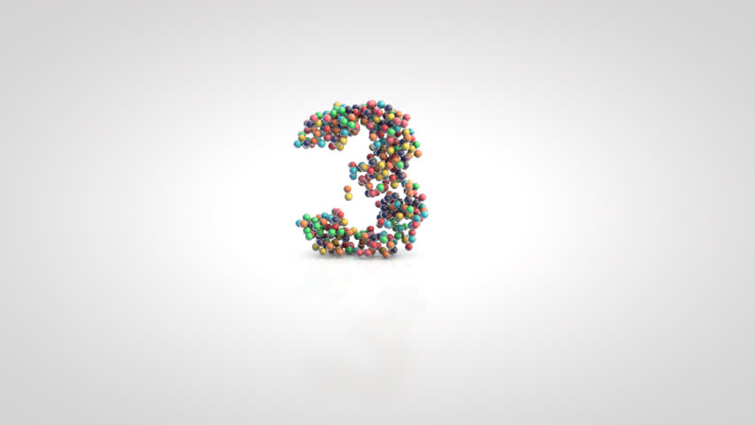 Number 3 with moving a swarm of glossy colorful 3d balls on a white background