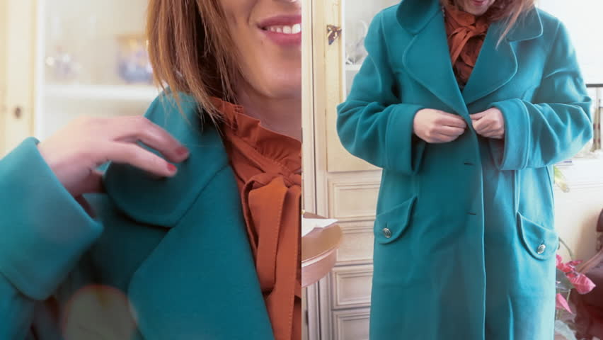 A woman wearing skirts, jackets, coats and other fashion items. Short double-sided fast montage.