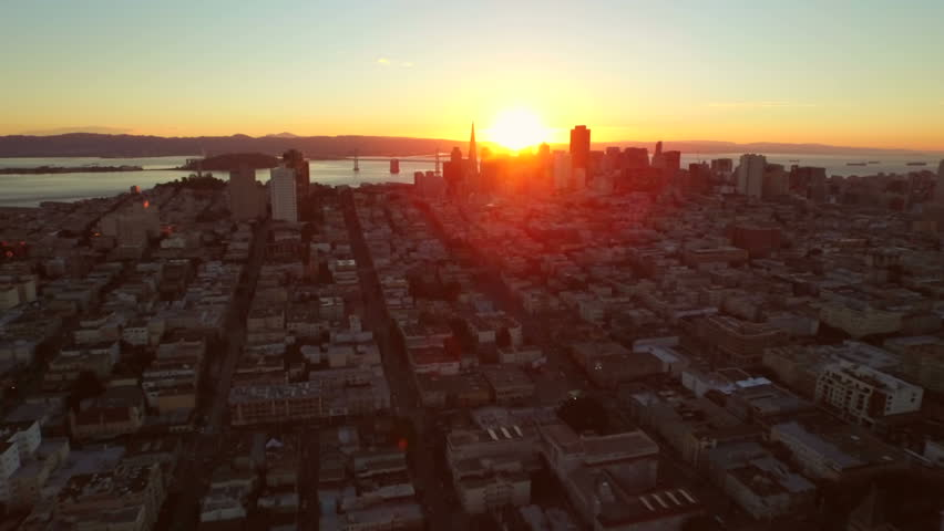 San Francisco Aerial v23 Flying low over downtown at sunrise.