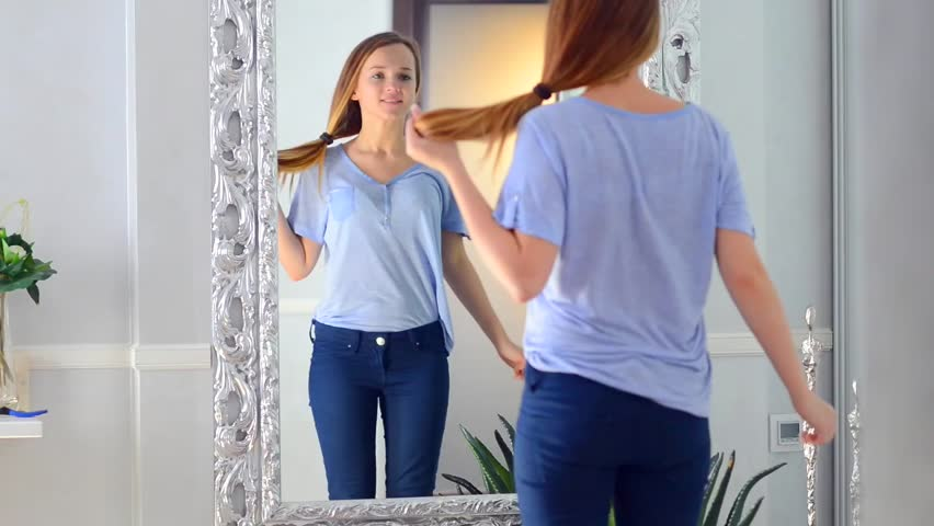Beauty Teenage Girl With Long Healthy Hair Admiring Herself In The Mirror Beautiful -7159