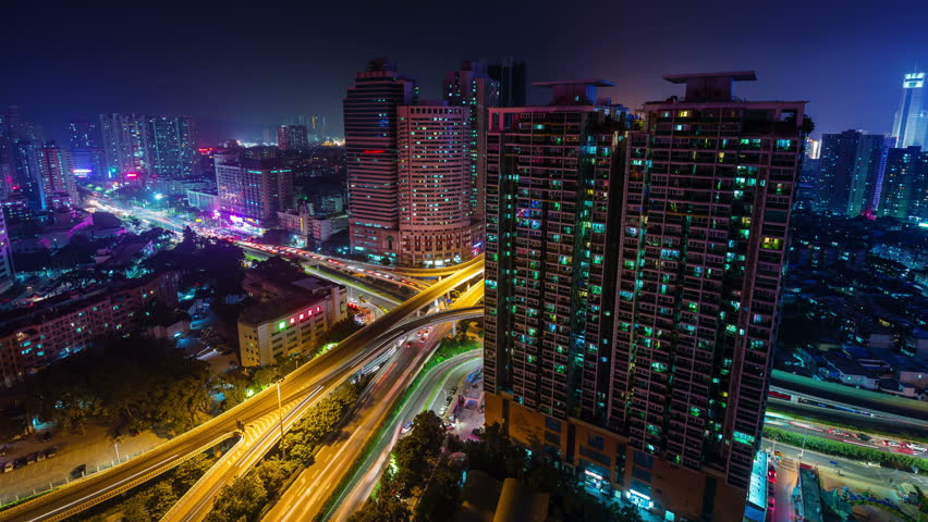 shenzhen night light traffic junction cityscape 4k time lapse china #9694328