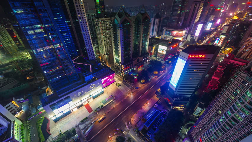 SHENZHEN, CHINA - DECEMBER 2014: shenzhen city night light traffic streets roof top view 4k time lapse china #9694958