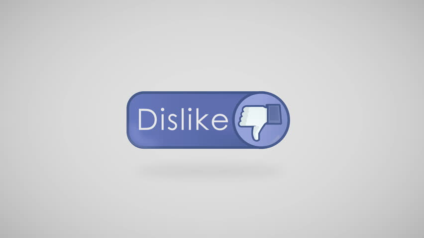 """Social Network Unlike Icon animation. Button with thumbs down and text """"Dislike"""" appears at grey background. Seamless loop."""