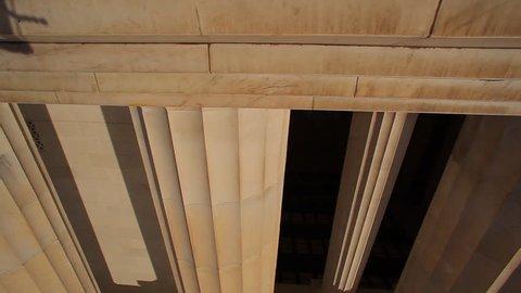 Washington, DC/United States - November 2012: A tracking shot of a large pillar at the Lincoln Memorial in Washington DC.