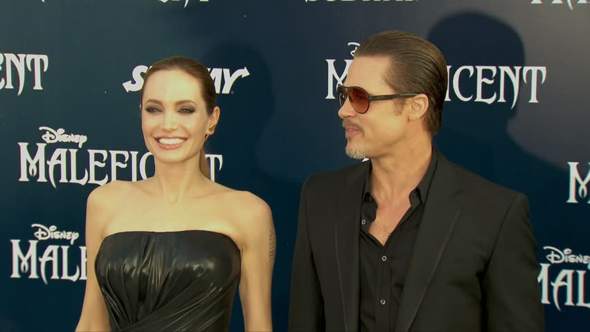 Hollywood, CA - May 28,2014: Angelina Jolie and Brad Pitt at Maleficent Hollywood Premiere, El Capitan Theatre