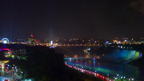 Niagara Falls view from hotel at night. Canada.