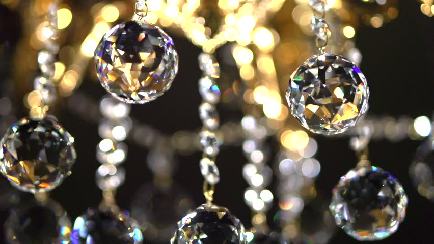Gold Chandelier On A Dark Background Slow Motion 240 Fps High Speed Camera Shot Full HD 1080p