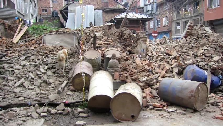 KATHMANDU, NEPAL - APRIL 26, 2015: Destroyed temple after a 7.8 earthquake hit Nepal on 25 April 2015.