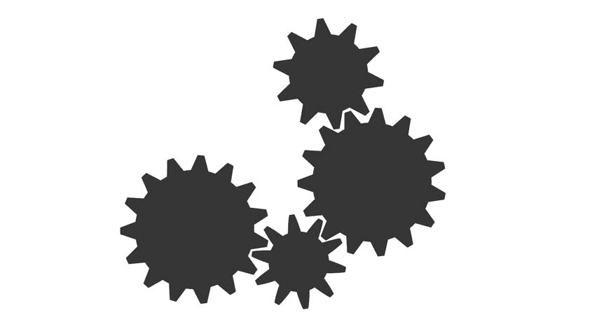White Gear Icon Silhouette Gears On A ...