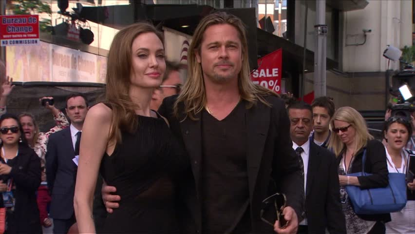 London, UK - June 02,2013: Brad Pitt and Angelina Jolie at World War Z London Premiere, Empire Cinema