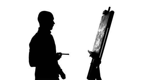 Bearded, bald, talanted painter drawing a painting  by oil paints holding the brush in his hand, finishes it and evaluates the painting on white background, silhouette, slow motion