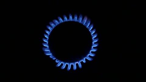 Blue Natural Gas Flames. Slow Motion