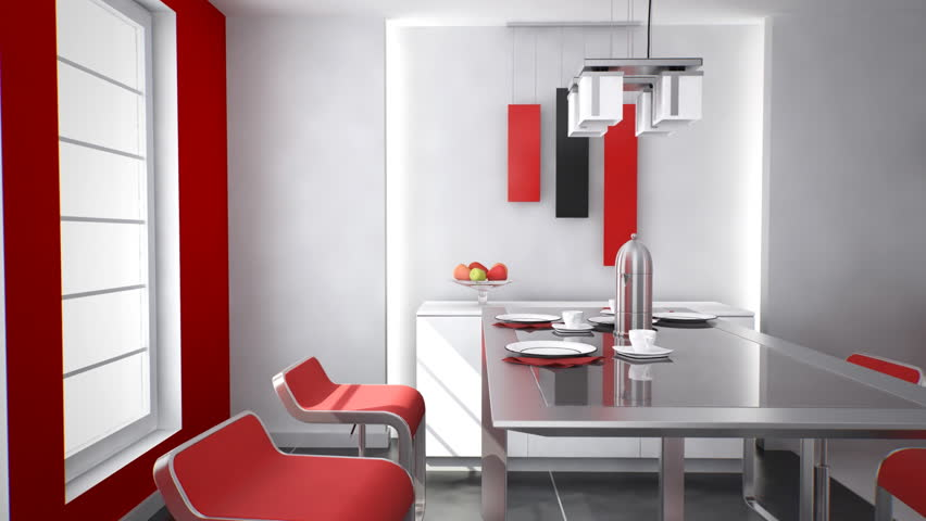 Home Interior: Modern Kitchen Designed With Red And White Colors.   HD  Stock Footage