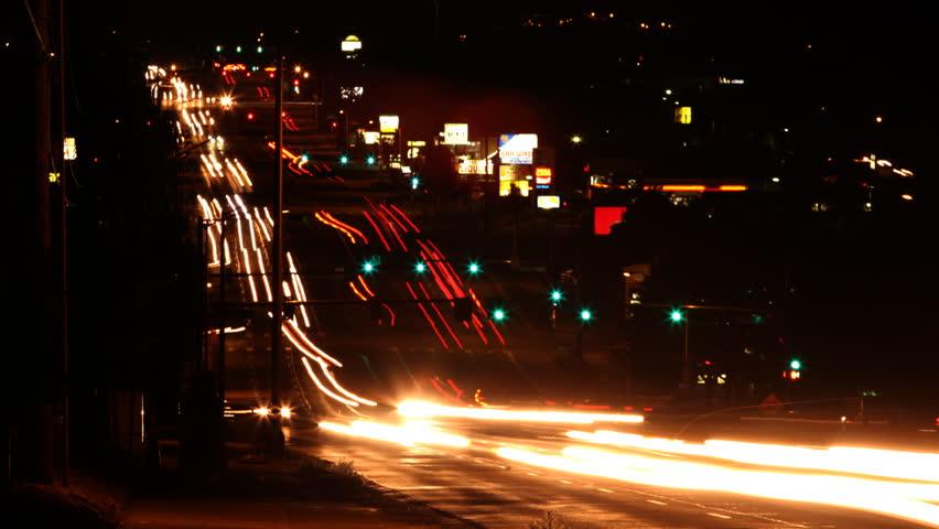 Night Traffic Seamless Loop HD 1080p Time Lapse.