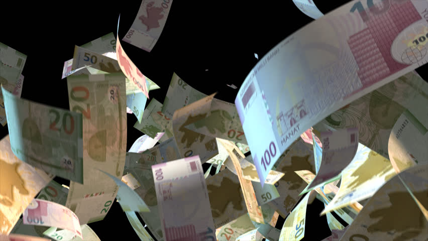 Falling Azerbaijan money banknotes