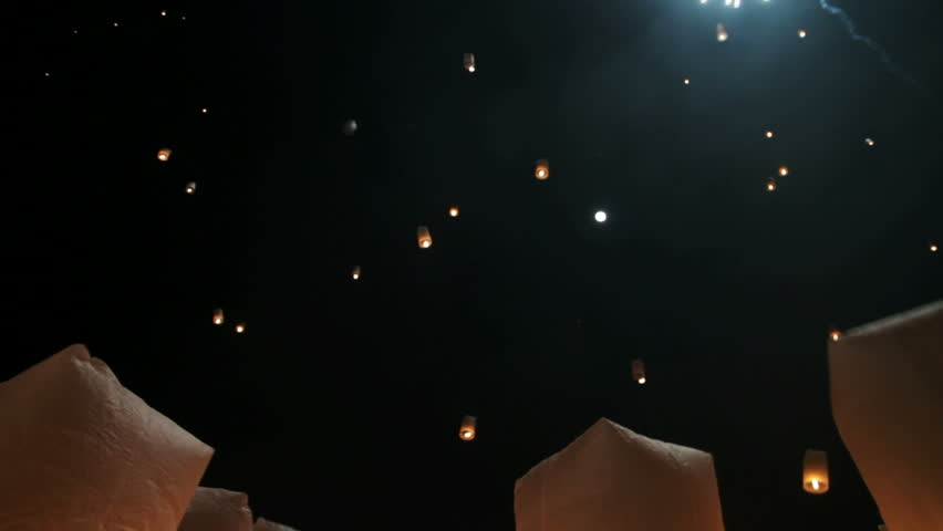 Hundreds of rice paper hot air balloons are launched during the Loi Krathong festival in Chiang Mai.