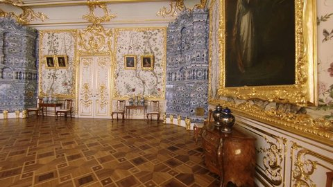 SAINT-PETERSBURG, RUSSIA - MAY, 2015: Gorgeous rooms and interiors of the Catherine Palace in St. Petersburg. Pushkin. Tsarskoye Selo.