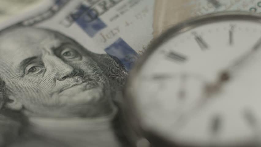 American dollars, money, time running. Benjamin Franklin closeup   Shutterstock HD Video #9979148