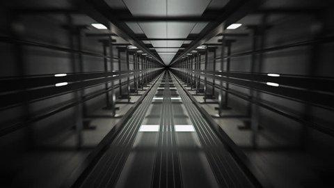 02275 Inside of Elevator Shaft With Moving Elevator.