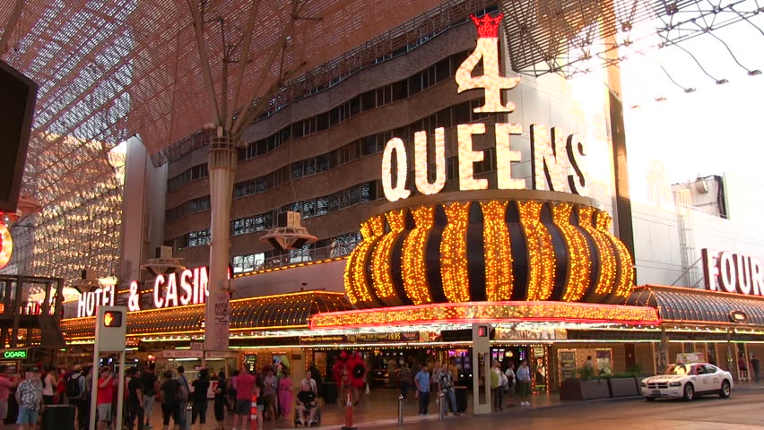 LAS VEGAS NV - CIRCA 2014 Crosswalk in front of 4 Queens Hotel on & Day Low Up Angle Under Fremont Street Canopy Raked Right Pioneer ...