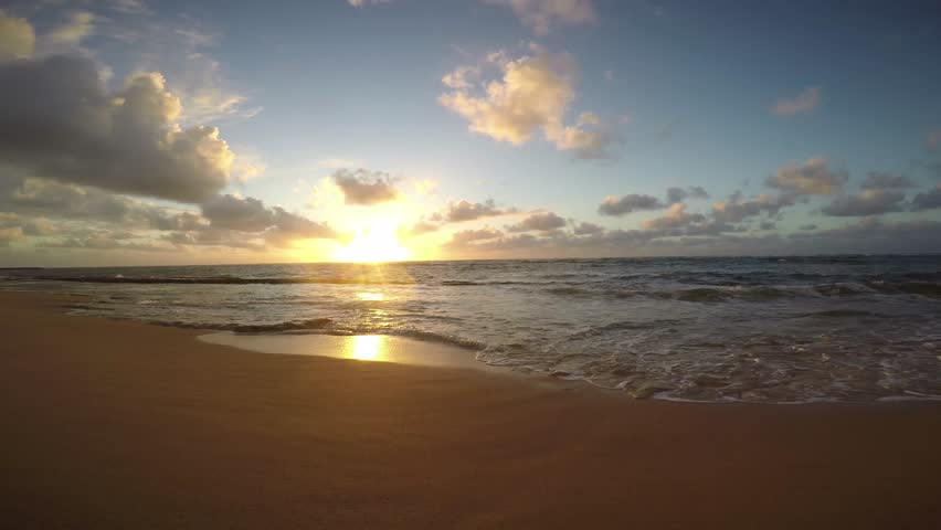 Sunrise on Kapaa Beach on the island of Kauai, Hawaii